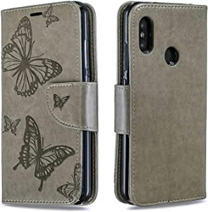 DENDICO Xiaomi Redmi Pro Wallet Case  Premium Leather Cover with Butterfly Design  Flip Folio Book Case Full Body Protection with Card Holder for Xiaomi Redmi Pro Grey