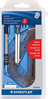 Staedtler Mars GmbH & Co. 55981CS Geometry Set, 8 Pieces Packed In Plastic Storage Case