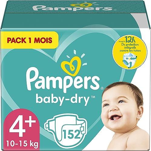Pampers Couches Baby-Dry Taille 4+ (10-15kg) Jusqu'à 12h Bien Au Sec et Avec Double-Barrière Anti-Fuites, 152 Couches...