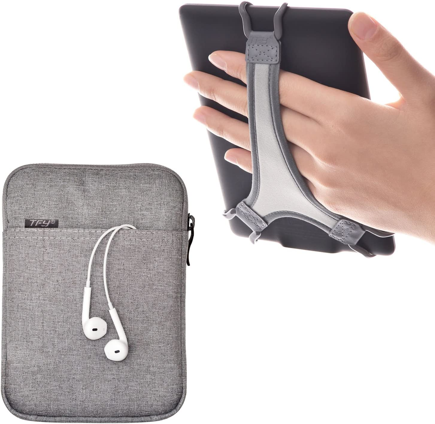 TFY E-Reader Protective Pouch Bag with Zip Closure, Plus Bonus Hand Strap Holder for 6 inch e-Readers - Kindle 6 inch / Paperwhite / Voyage / Oasis 6 Inch / Nook GlowLight Plus / Kobo Aura /Touch 2.0