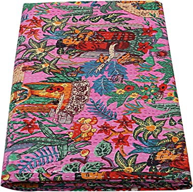 Indian-Shoppers Bohemian Floral Print Cotton Kantha Bed Cover Hippie Queen Size Bed Cover Handmade Hand Stitched Comforter La