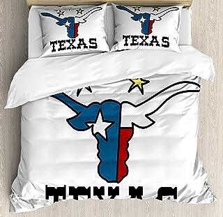 Juego de funda nórdica Texas Star 3 PCS, cabeza de búfalo estilo Doodle con cuernos Bandera de Texas y letras vintage Tema de vaquero, juego de cama Colcha para niños / adolescentes / adultos / niños,