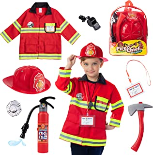 Born Toys (8 PC Premium Washable Fireman Costume and Firefighter Accessories with Real Water Shooting Extinguisher Great f...