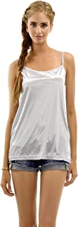 Women Basic Silky Satin Camisole Chemise Full Slip Nightgown Sleepwear- Under Sheer Sweater, Dress, Tunic