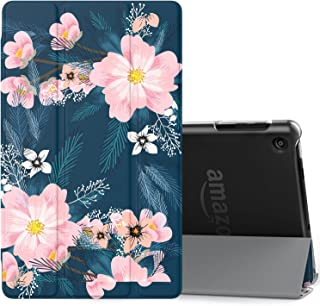 MoKo Case Fits Amazon Fire HD 8 Tablet (7th/8th Generation, 2017/2018 Release) -Lightweight Slim Shell Stand Cover with Translucent Frosted Back for Fire HD 8, Night Blossom (with Auto Wake/Sleep)