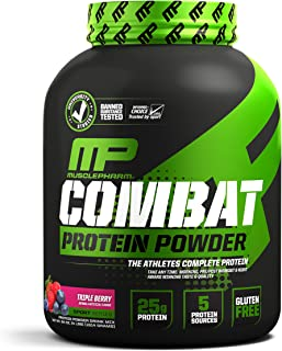 MusclePharm Combat Protein Powder, 5 Protein Blend, Triple Berry, 4 Pounds, 54 Servings