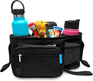 Universal Stroller Organizer with Insulated Cup Holders and Attachable Diaper Changing Pad by Babyland, Stroller Caddy Org...