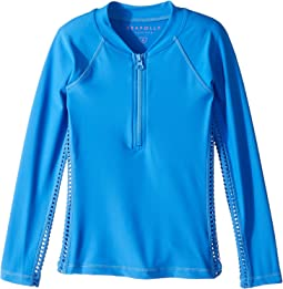 Seafolly Kids - Sapphire Coast Long Sleeve Zip Rashie (Little Kids/Big Kids)