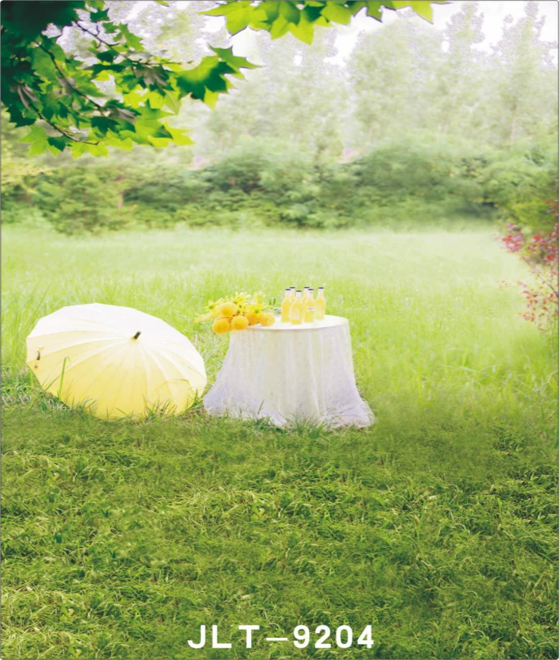 6.5X10FT-Park Leaves Table Photography Backdrops Props Childrens Green Grassland Photo Studio Background