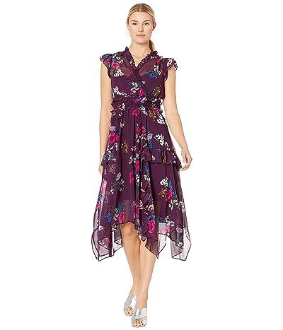 Calvin Klein Floral Print Chiffon Dress (Aubergine Multi) Women