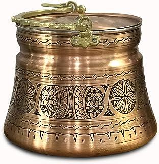 Seau en cuivre martelé à la main 3 litres avec couvercle en cuivre, pot en cuivre avec poignée en laiton, seau à yaourt en...