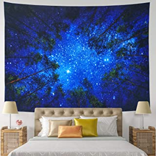 Amonercvita Starry Forest Tapestry Wall Hanging Blue Forest Tapestry 3D Night Forest Tree Tapestry Hippie Galaxy Milky Way Tapestry for Dorm Living Room Bedroom (X-Large, Starry Forest)