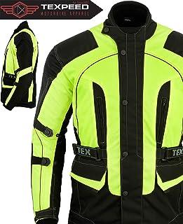 Texpeed   Textil Motorradjacke mit CE Protektoren   High Visibility   Wasserdicht   Größen M 10XL