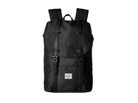 negro Co de Herschel Supply Retreat cuero negro sintético medio volumen de wawqzx