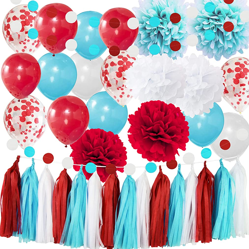 Dr Seuss Party Decorations Bridal Shower Decorations Aqua Blue White Confetti Ballons for Nurse Graduation Decorations Dr Seuss Cat in The Hat 1st Birthday Party Supplies/ Airplane Party Decor