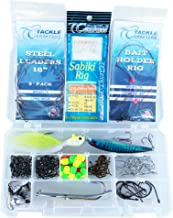 Saltwater Lures Surf Fishing Gear Tackle Box Set - 146 pcs, Hooks, Stainless Steel Leaders, Surf Fishing Rigs, Sabiki,Tackle Box Made in The USA