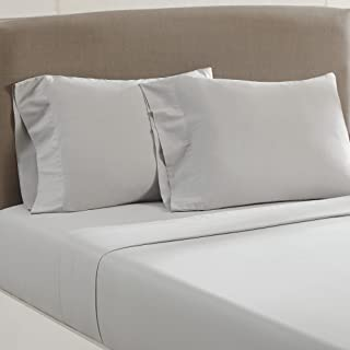 Amrapur Overseas Vintage Washed 100-Percent Cotton 4-Piece Sheet Set, Queen, Silver
