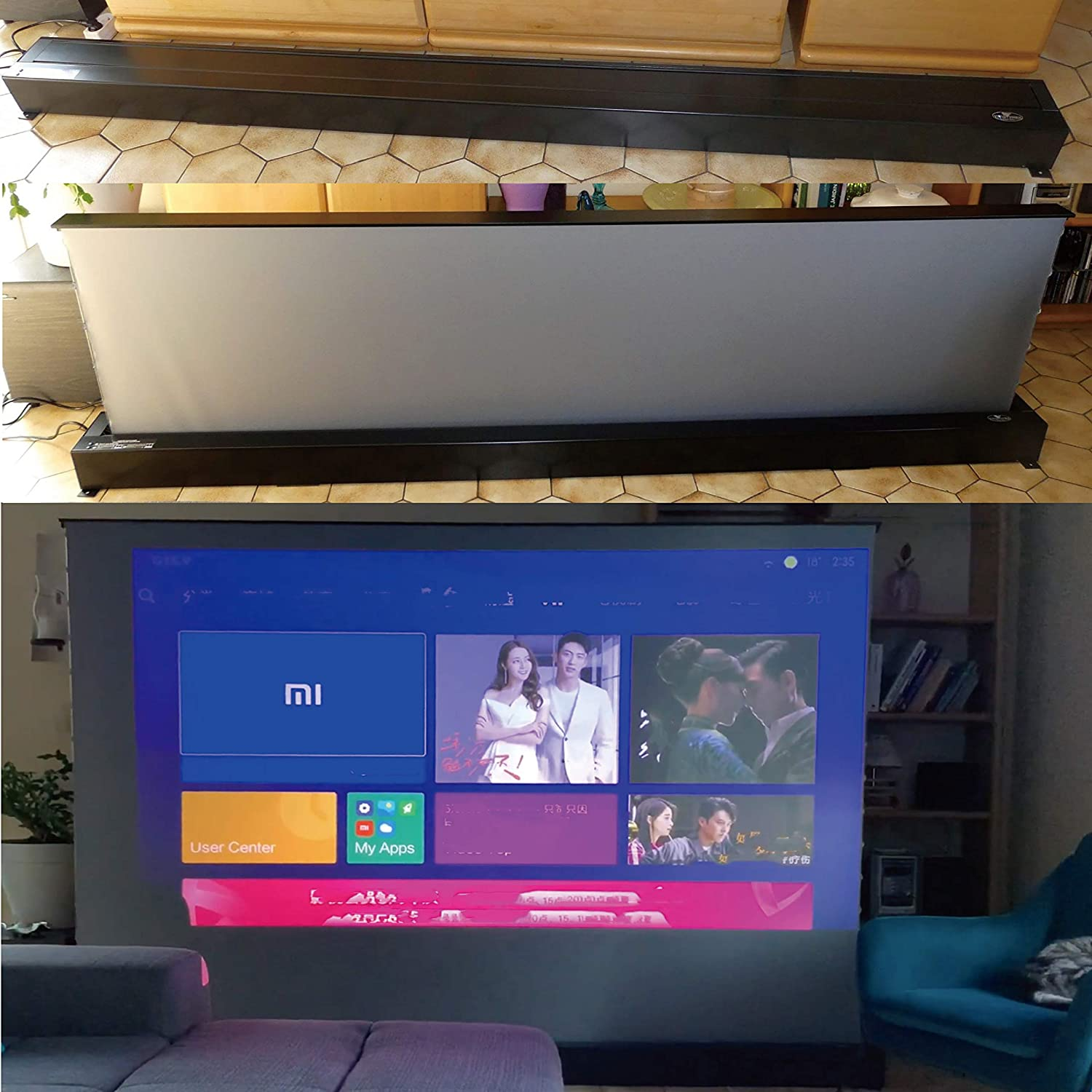 TV Home Theater Projector 8K//3D//UHD Black Housing Motorized Floor Rising Screen 110 inch Ambient Light Rejecting Screen VSDSTUST110H VIVIDSTORM S PRO Ultra Short Throw Laser Projector Screen