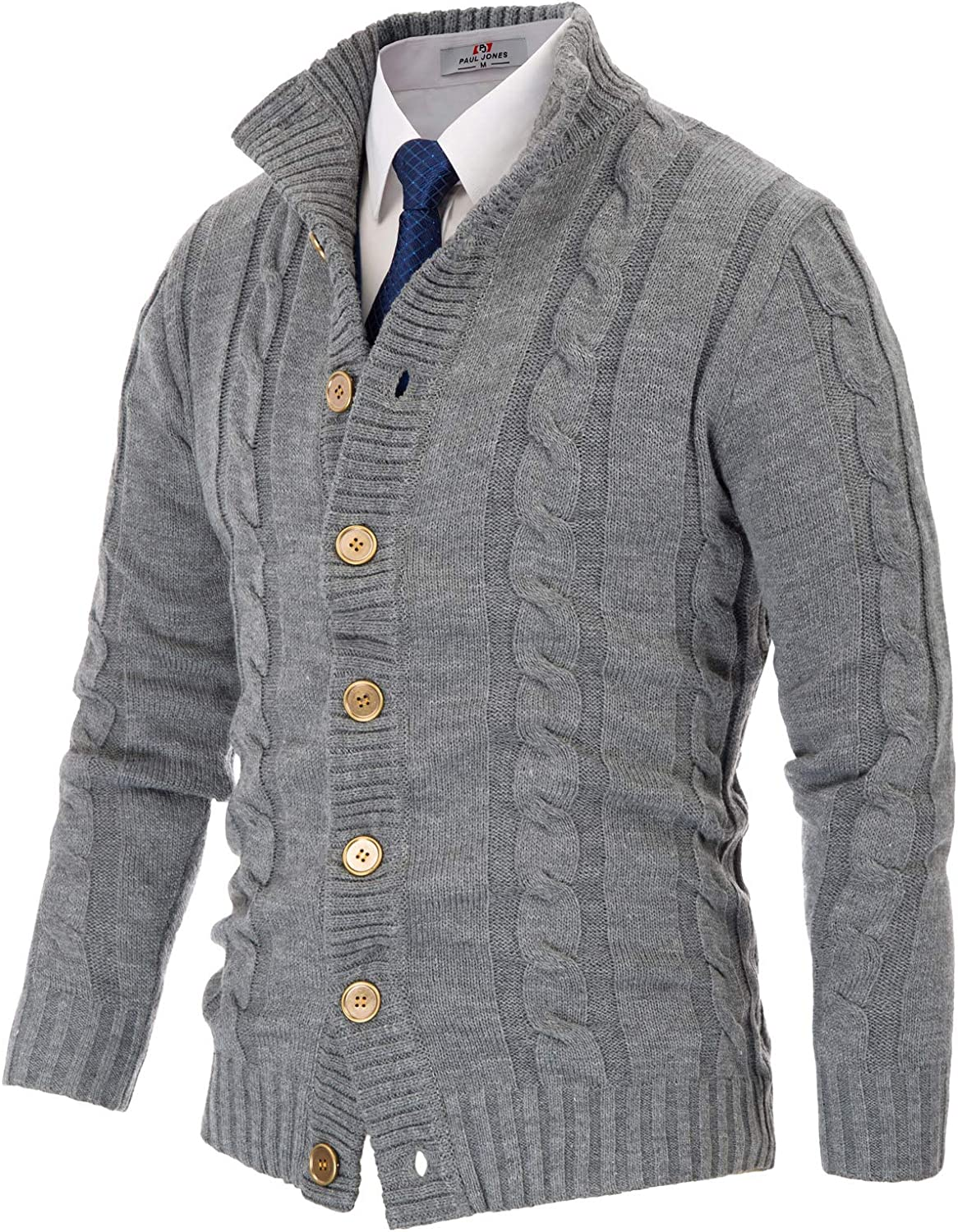 Mens Casual Stand Collar Cardigan Button Down Cable Knitted Sweater