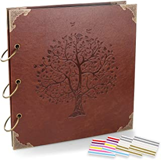 ADVcer Photo Album DIY Scrapbook (10x10 inch 50 Pages Double Sided), Vintage Leather Cover Three-Ring Binder Family Pictur...