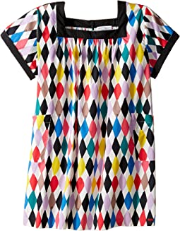 Sonia Rykiel Kids - Harlequin Printed Short Sleeve A-Line Dress w/ Pockets (Big Kids)
