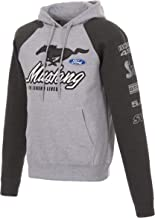 Men's Ford Mustang 2-Tone Gray Pullover Hoodie Front Back Sleeve Emblems