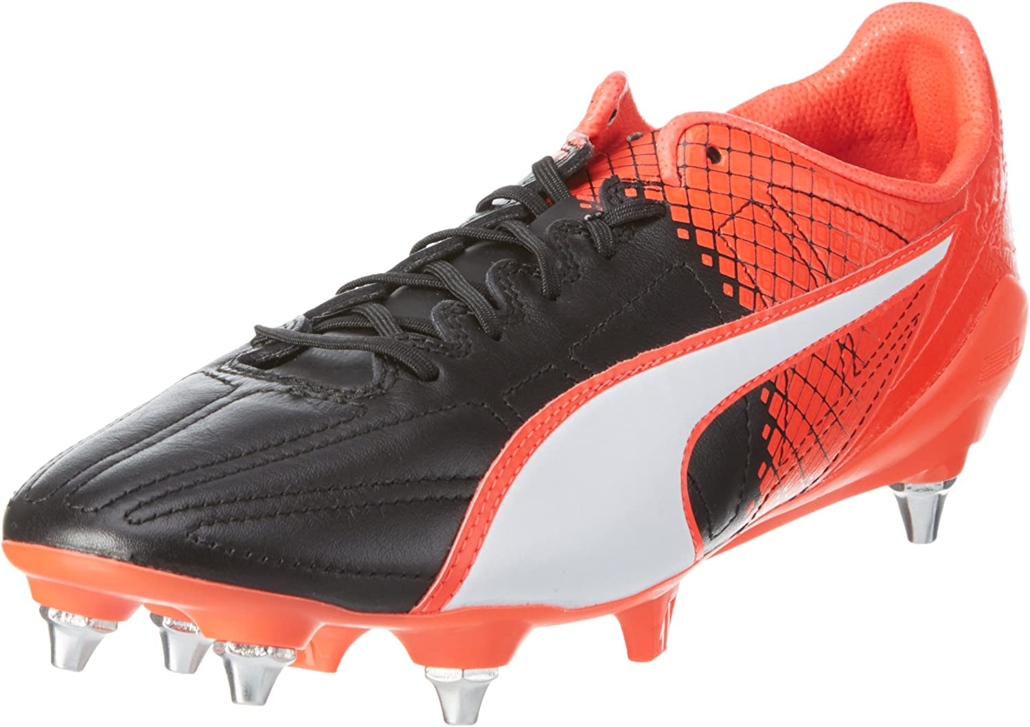PUMA evoSPEED SL Leather Mixed SG Football Boots Size 7.5 White Red