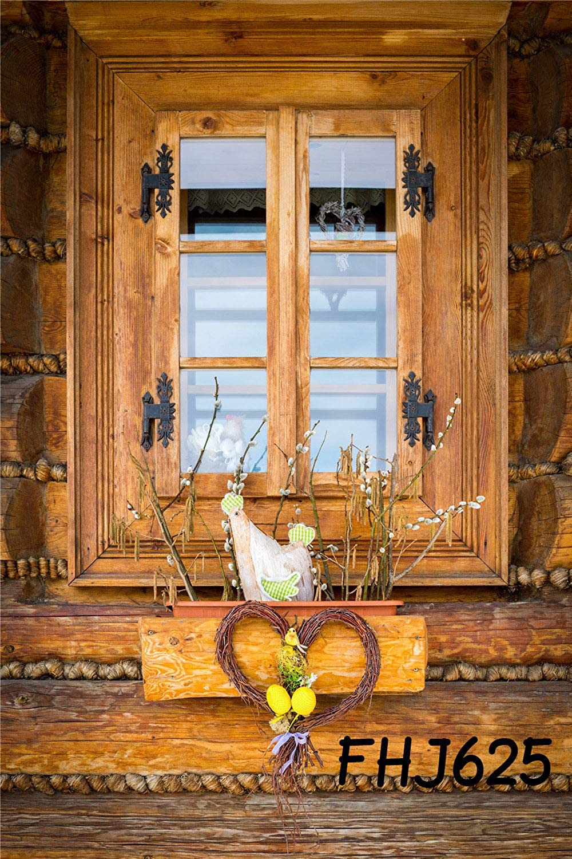 FidgetFidget バックグラウンド ウィンドウ 素朴な木製 コテージビニール 5x7フィート スタジオ背景 写真
