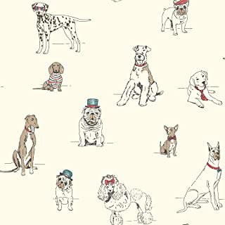 York Wallcoverings Ashford Toiles Dog's Life Removable Wallpaper, Red/Blue