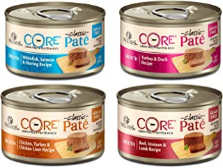 Wellness CORE Canned Grain Free Wet Classic Pate Cat Food Variety Pack, 4 Flavors - 3 oz Each 12 Cans