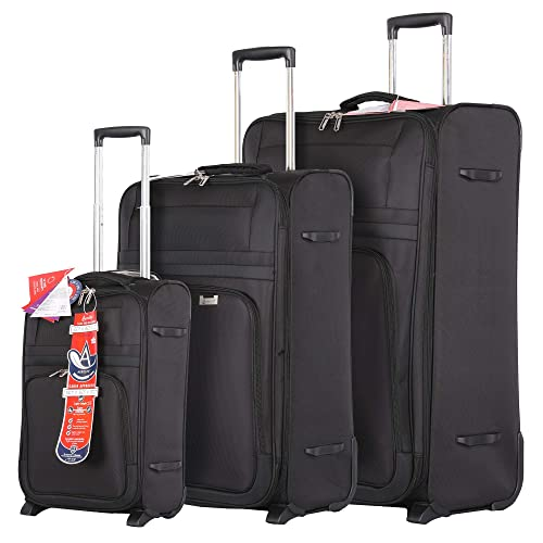 1cd7187177a0 Aerolite Ultra Lightweight Expandable 2 Wheel Travel Trolley 3 Piece Suitcase  Luggage Set