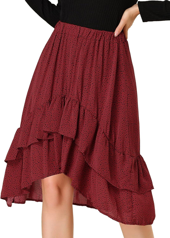 Allegra K Women's Ruffle High Waist Cute Vintage High Low Flowy Chiffon Polka Dots Skirt