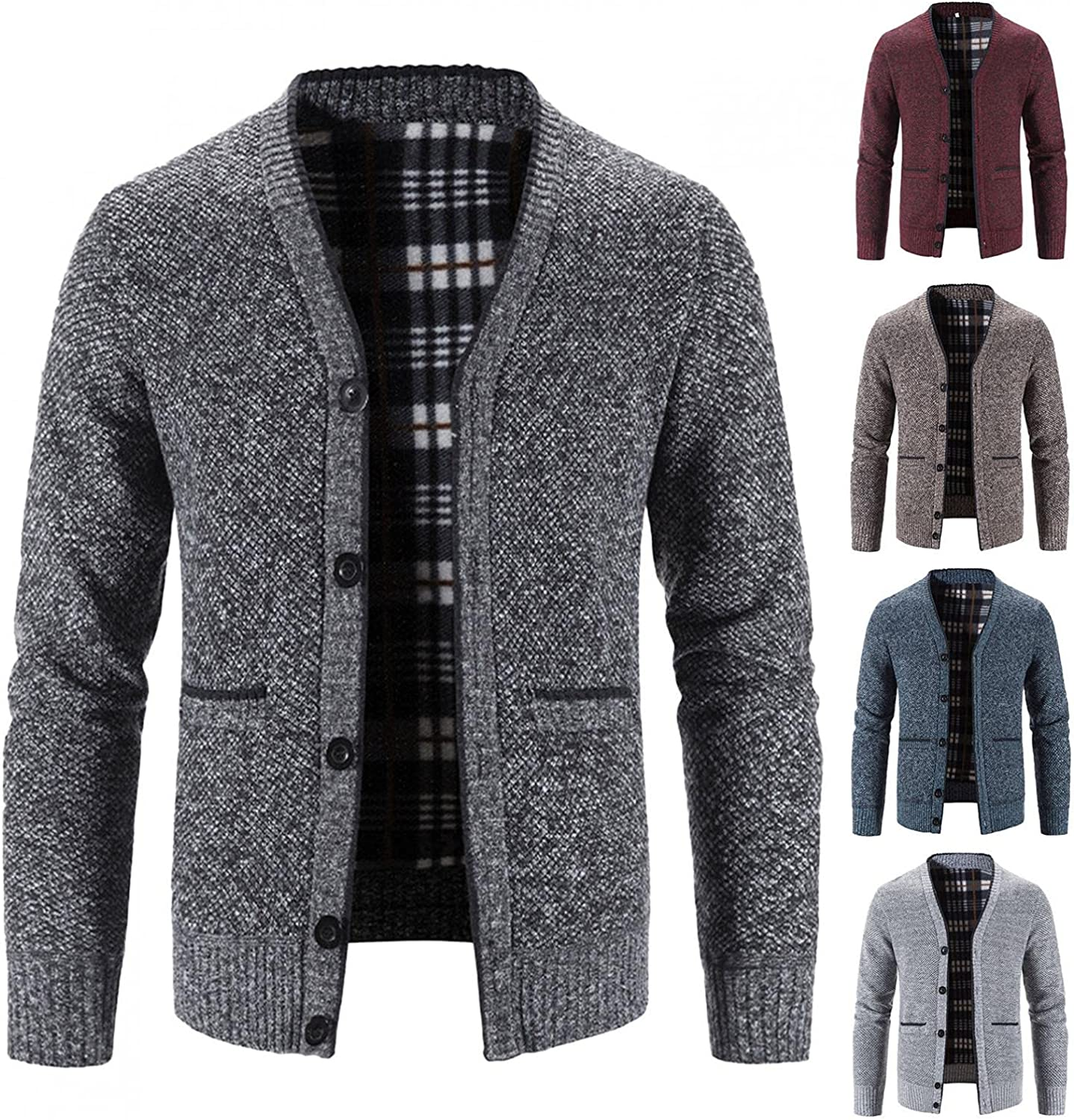 Men's Autumn And Winter Acrylic Solid Color Button Pocket V-neck Long Sleeve Cardigan Jacket Coat