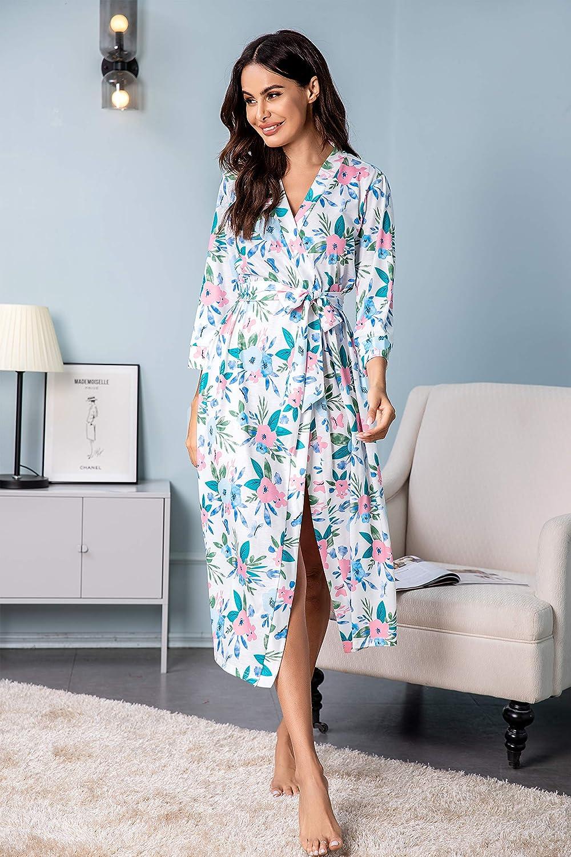 Unibelle Damen Morgenmantel aus Baumwolle 3/4 Ärmeln Bademantel Nachtwäsche Kimono Saunamantel mit Tiefer V-Ausschnitt Schlafanzug Muster-5
