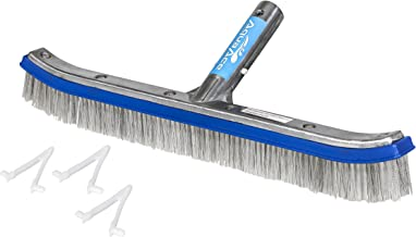 AquaAce Premium Combo Nylon and Stainless Steel Wire Bristle Pool Brush, Mixed Bristles for Extra Scrubbing Power, Three Extra V Clips, for Concrete or Gunite Pools, Not for Vinyl Pools