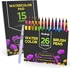 Watercolor Brush Pens | 26 Colors with 15-Sheet Watercolor Pad & Blending Brush - Paint Markers for Painting, Coloring, Calligraphy, Drawing for Kids, Artists, Beginner Painters - Real Flexible Tips