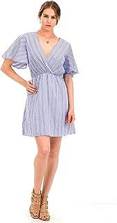 Malibu Days Stripe Midi Kimono Wrap V Neck Flatter Front Tie Waist Dress