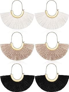 3 Pairs Silky Thread Fan Tassel Statement Hoop Earrings Lightweight Semi Circle Fan Threader Dangles Mermaid Hoops for Women