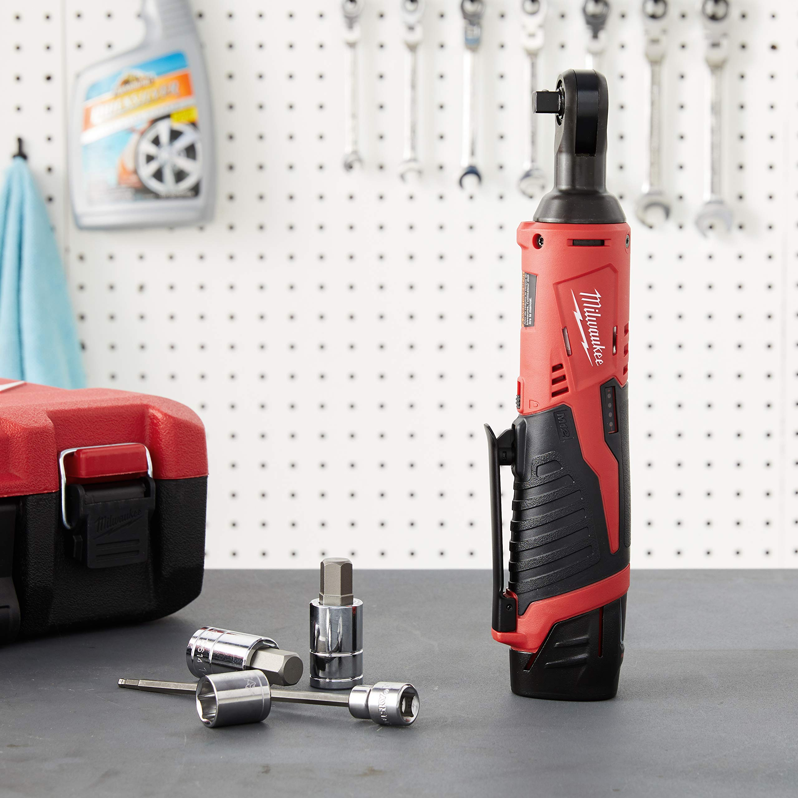 """MILWAUKEE 2457-20 M12 Cordless 3/8"""" Sub-Compact 35 ft-Lbs 250 RPM Ratchet w/ Variable Speed Trigger"""