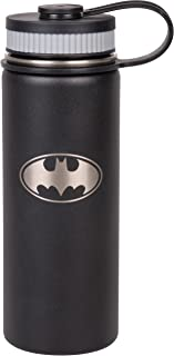DC Batman Stainless Steel Water Bottle - Wide Mouth Double Walled Vacuum Insulated Bottle for Hot and Cold Beverages - 550ml/18oz