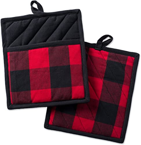 DII Buffalo Check Kitchen Collection Classic Farmhouse Style For Your Home and Kitchen, Potholder Set, Red & Black 2 ...
