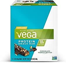 Vega Protein Snack Bar Chocolate Peanut Butter (12 Count) - Plant Based Vegan Protein Bars, Non Dairy, Gluten Free, Non GMO