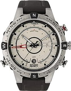 Men's T2N721 Intelligent Quartz Compass Tide Temperature Silver Case Brown Strap Watch