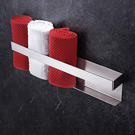 YIGII Porte-serviettes sans perçage en acier inoxydable autocollant 40 cm pour salle de bain