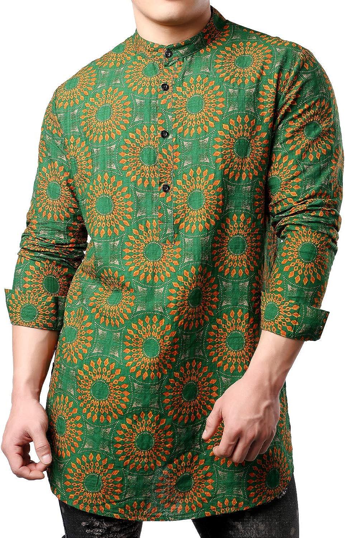 JOGAL Men's African Dashiki Print Long Sleeve Casual Button Down Mandarin Collar Shirts
