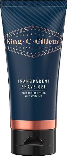 King C. Gillette Men's Transparent Shave Gel with White Tea and Argan Oil, 150 ml