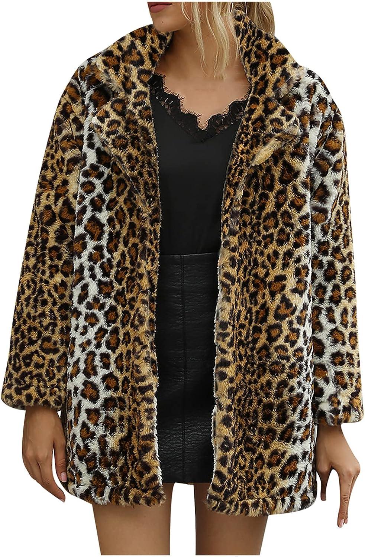 Women's Leopard Fleece Jacket Coat Casual Loose Fitting Cardigan Long Sleeve Shirt Tops Blouses Teen Fashion Outerwear