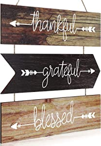 Rustic Wooden Hanging Wall Sign Thankful Grateful Blessed Wood Sign Farmhouse Wooden Arrow Quotes Signs Hanging Wood Wall Decor Signs for Home Living Room Bedroom Office Wedding Favor (Rustic Colors)
