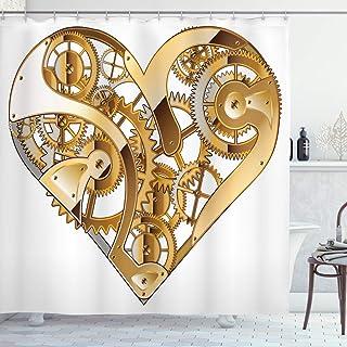 ABAKUHAUS Industrial Shower Curtain, Mechanical Love Tech, Cloth Fabric Bathroom Decor Set with Hooks, 175 cm x 200 cm, Pa...
