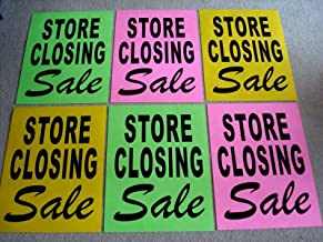 (6) Store Closing Sale Window Signs 17.5 x 23 Black on Green,Pink,YEL Business Signs